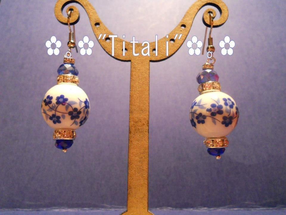 Orecchini ceramica blu