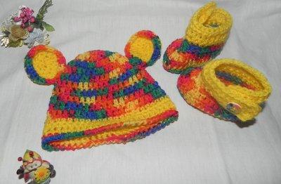 Scarpine e cappellino bebè unisex fatti a mano uncinetto multicolor misto lana