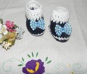 SCARPETTE SCARPINE bebè FATTE A MANO blu-bianco con fiocco a quadretti