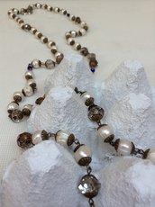 Sotoir in perle di fiume e cristalli