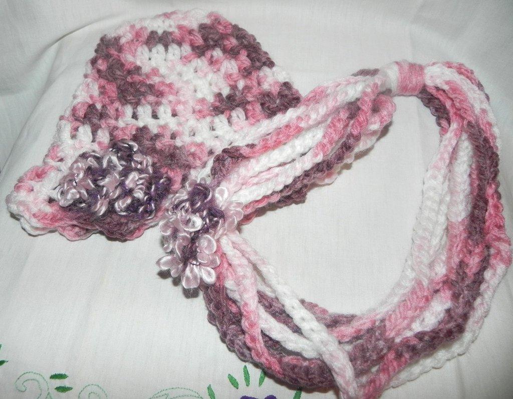 Cappello berretto e collana donna crochet set uncinetto