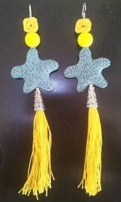 Orecchini pendenti in argento tibetano, pietra lava azzurra, fatto a mano