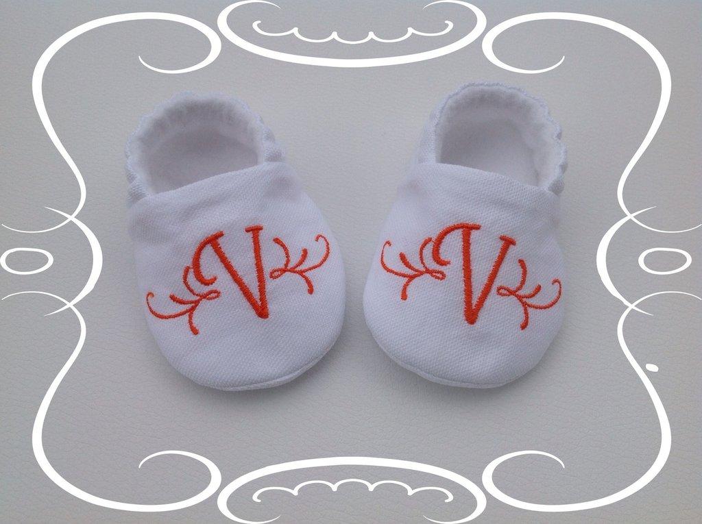 Scarpine personalizzate in cotone e pile bianco - Bambina 3-6 mesi