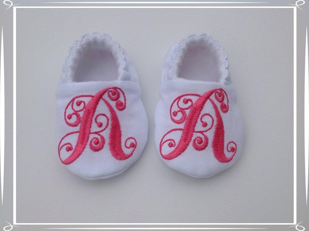 Scarpine cotone e pile personalizzate con iniziale - Bambina 6-9 mesi