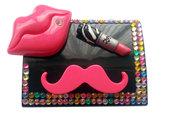 Custodia portalenti a contatto lip multicolor rossetto labbra baffi idea regalo