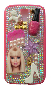 Cover Doll Style Samsung Galaxy S4 i9500 i9505 i9515 Doll Barbie Pink Idea regalo Fashion Smalto pettine scarpa strass perle borchiette
