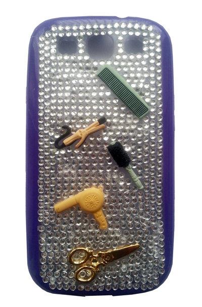 Cover Hair Stylist Samsung S3 i9300 parrucchiere capelli phone spazzola forbici piastra strass idea regalo