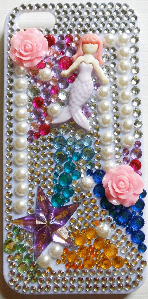 Cover Mermaid iPhone 5 5G 5S idea regalo sirena la sirenetta strass stelle perle ariel