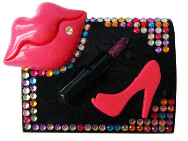 Contenitore lenti a contatto black-multicolor labbra rossetto strass idea regalo scarpa lenti custodia