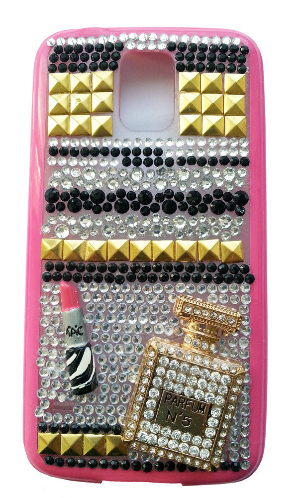 Cover Silver e Gold Samsung Galaxy S5 i9600 profumo rossetto mac idea regalo fashion