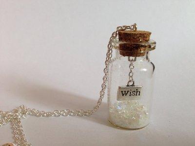 """Collana boccetta in vetro con ciondolo in argento tibetano wish """"desiderio"""""""