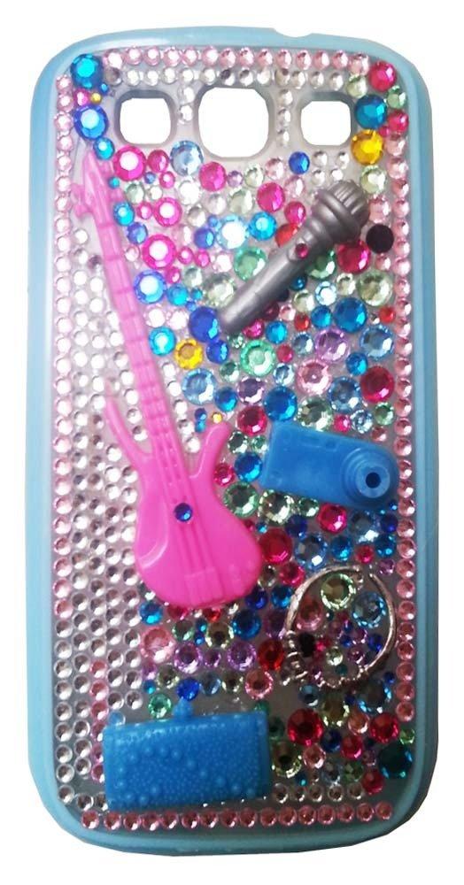 Cover Music Samsung Galaxy S3 i9300 chitarra microfono strass multicolor idea regalo ragazza cantante strumenti musicali