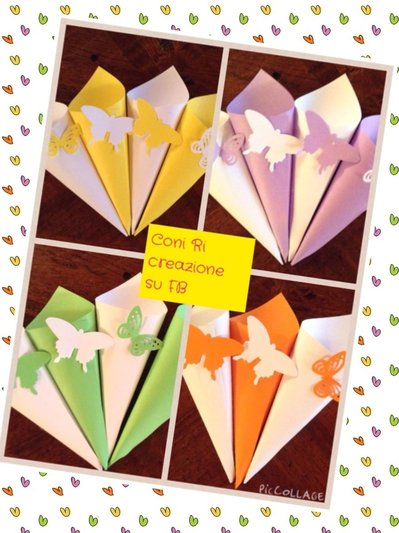 Coni porta riso  confetti confettata con farfalla scegli tu il colore dei coni e delle farfalle