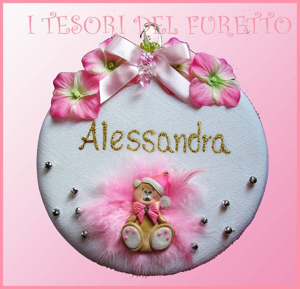 """Fiocco Nascita """"Fufuorsetto rosa"""" coccarda nascita battesimo bebè orsetto idea regalo futura mamma bambino fimo cernit kawaii"""