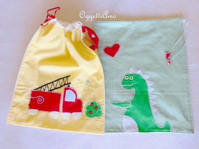 Sacchetto in cotone per bambino: il dinusauro che accompagna a scuola i vostri bambini!