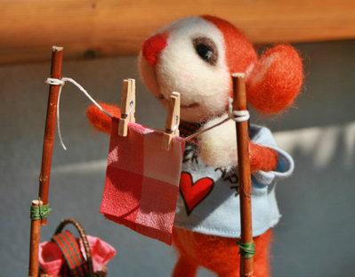 Bambola di topo, Super Papa. Topo fatto a mano da lana di peccora. Portaoggetti