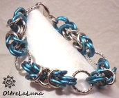 Bracciale chainmail in maglia bizantina color azzurro e acciaio