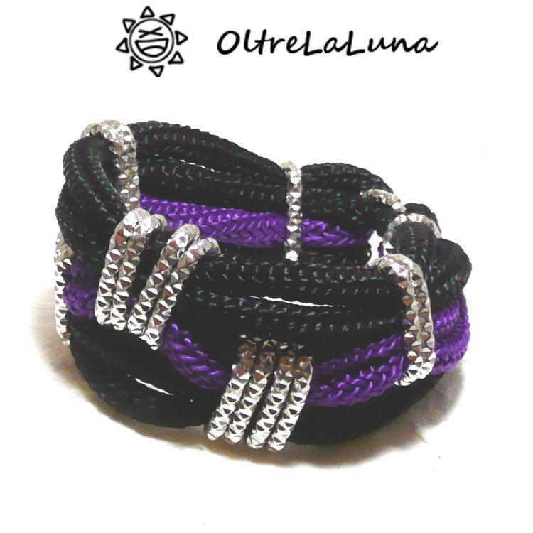 Bracciale in tricotin nero e viola