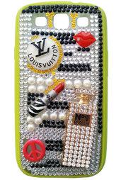 Cover Green-Luxury Samsung Galaxy S3 i9300 labbra profumo strass make up idea regalo perle