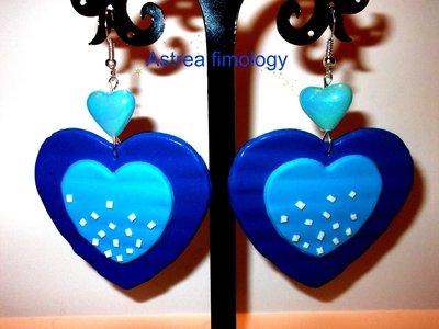 orecchini cuori blu