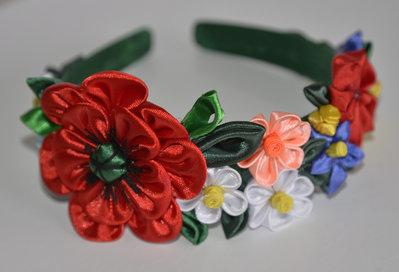 Cerchietto  con fiori kanzashi fatti a mano