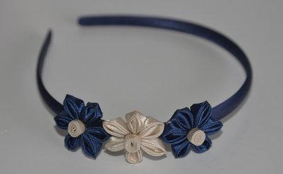 Cerchietto blu con fiori kanzashi fatti a mano