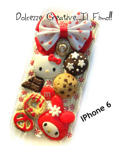 Cover IPhone 6/6s  kawaii caramelle candy cute cookie biscotti fiocco pan di stelle cioccolato dolce rotolo alla canella