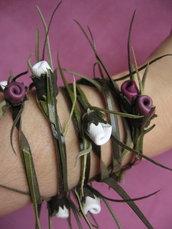 Bracciale in pelle con piccole rosette: 'CONNIE n. 6'