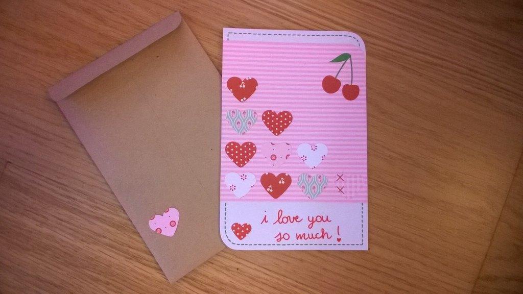 Biglietto d'amore rosa