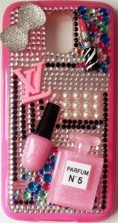 Cover beauty Samsung Galaxy S5 i9600 rossetto mac profumo LV  smalto make up idea regalo pink strass