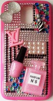 Cover beauty Samsung Galaxy S5 i9600 rossetto mac profumo LV  smalto make up idea regalo pink strass