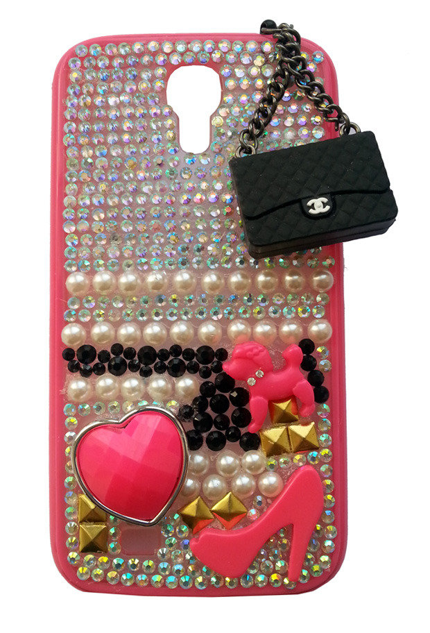 Cover Sciantosa + Ciondolo Borsetta Nera Samsung Galaxy S4 i9500 i9505 i9515 strass dog borsa fashion scarpa heart idea regalo