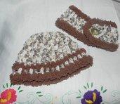 Scaldacollo e cappellino bambini unisex misto lana fatto a mano