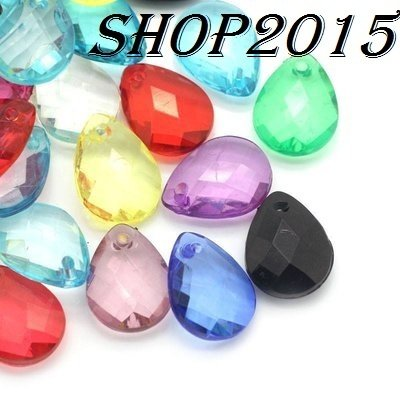 10  mix perle , ciondoli forma a goccia sfaccettate 17x13 mm