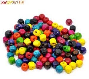20  mix perle, perline in legno a cubo 8 mm