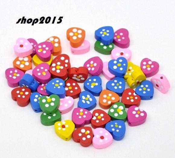 10  perle in legno cuore con fiore 14x13mm  vari  colori
