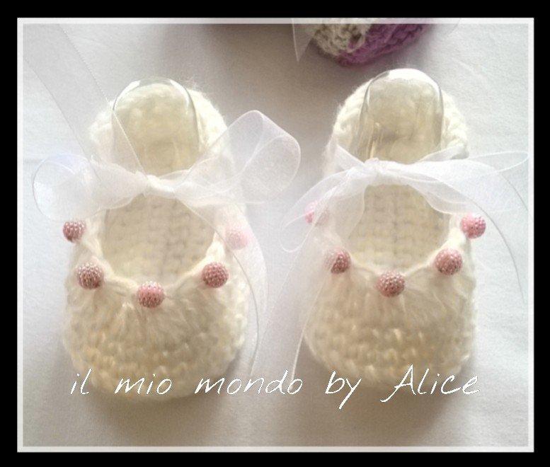Scarpine ballerine bambina neonata uncinetto 0-3 mesi
