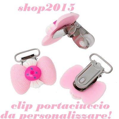 CLIP PORTACIUCCIO  FIOCCO ROSA IN RESINA 3.8X3.5 CM