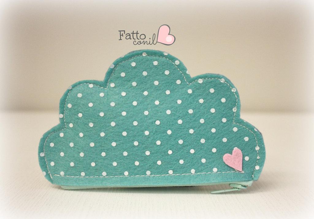 portachiavi  nuvola, realizzato in feltro colore verde acqua a pois