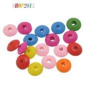 25 Perle perline  piatte a disco in legno forate  11.7mm