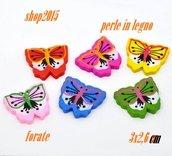 5 mix Perle  in Legno Forma farfalla 3x2 cm