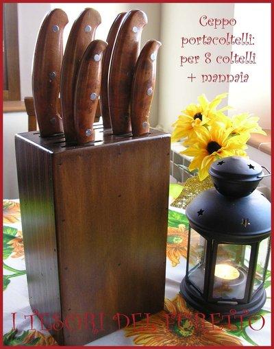 Ceppo portacoltelli + mannaia tinta noce lucido legno idea cucina regalo