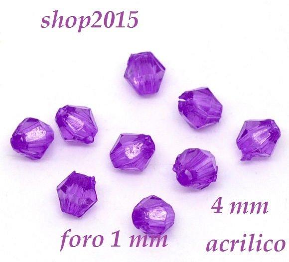 50 Perle Perline a Bicono Sfaccettate  4 mm