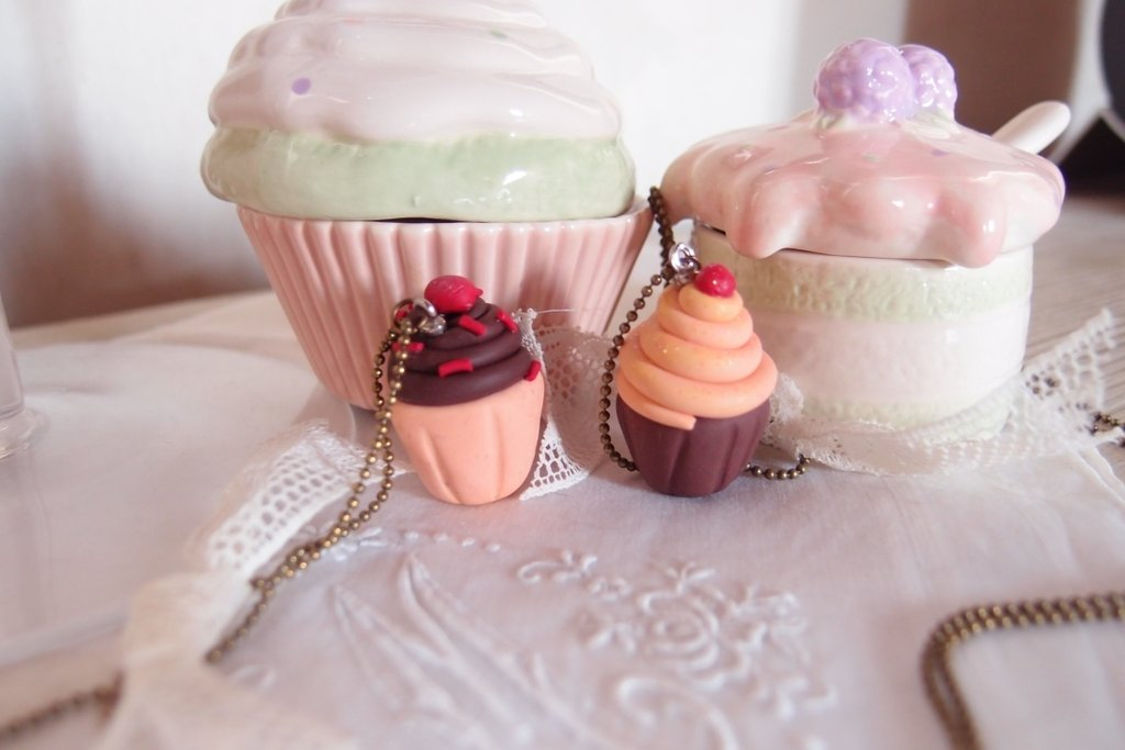 Collana  con ciondolo Cupcake in stile vintage o shabby in ceramica polimerica