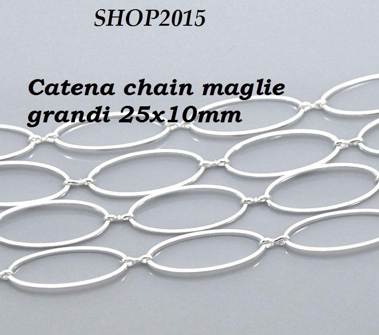 50 cm  Catena, catenella chain maglia  ovale Argentato  23mmx8mm