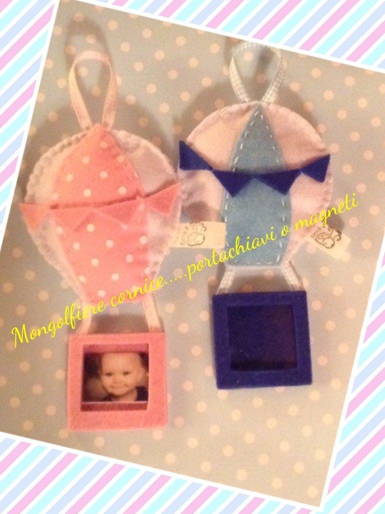 Cornice porta foto magnete mongolfiera colori a scelta bomboniera battesimo nascita