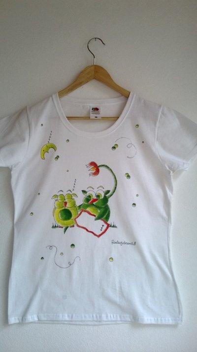 """t-shirt manica corta cotone """"gunanna"""" dipinta a mano"""
