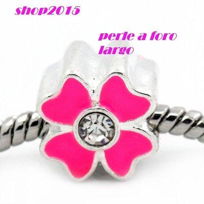 perla fiore smaltato fucsian con strass a foro largo 12x9 mm