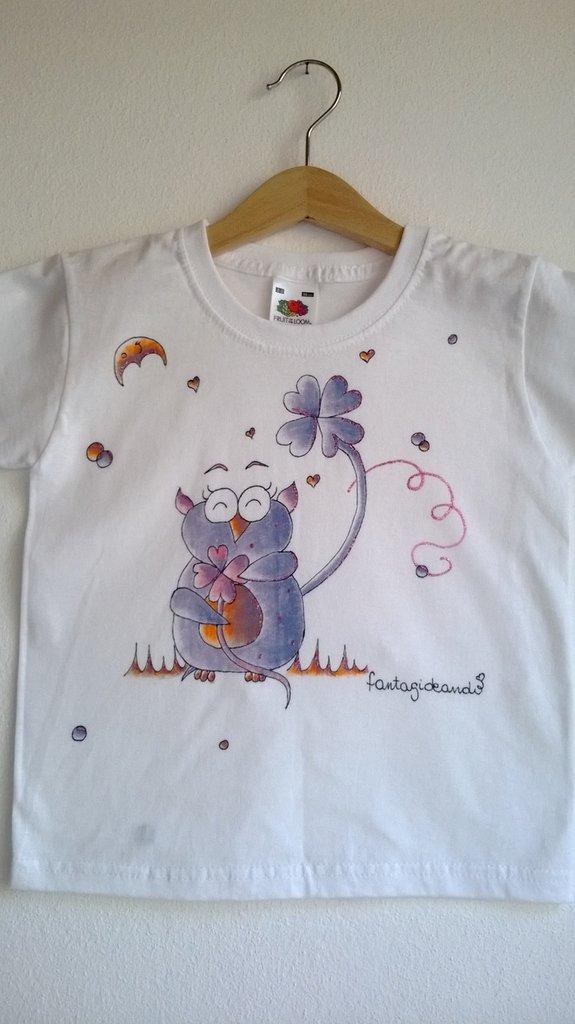 "t-shirt manica corta cotone ""GUFURRA'"" dipinta a mano"