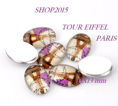 cabochon ,cammeo in Vetro Torre Eiffel Ovale 18×13mm